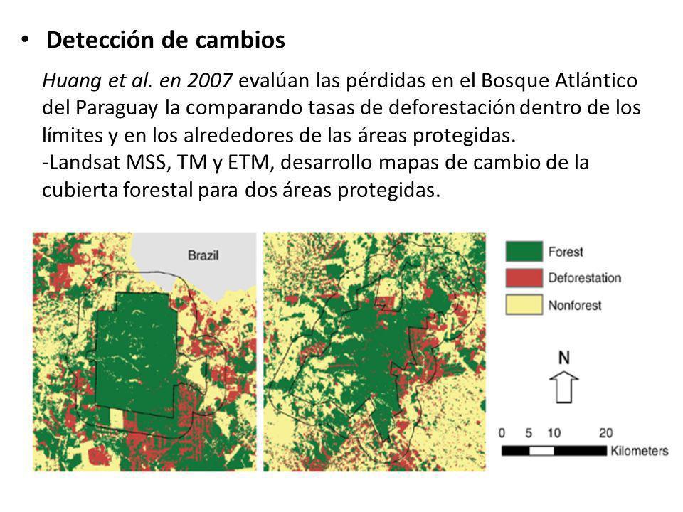 Detección de cambios Huang et al. en 2007 evalúan las pérdidas en el Bosque Atlántico del Paraguay la comparando tasas de deforestación dentro de los