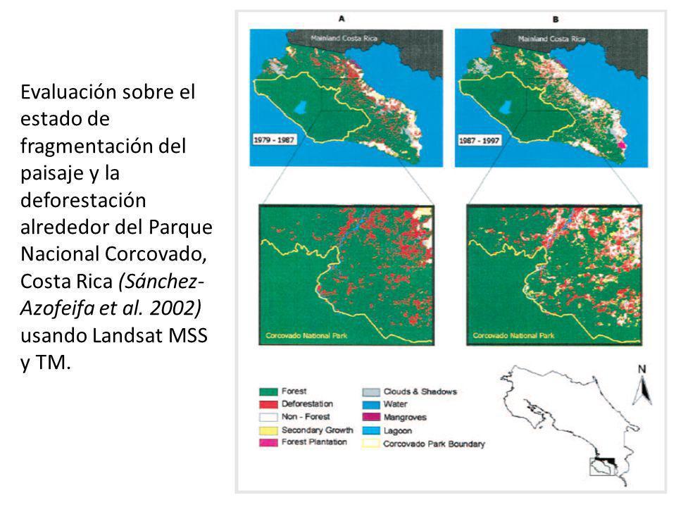 Evaluación sobre el estado de fragmentación del paisaje y la deforestación alrededor del Parque Nacional Corcovado, Costa Rica (Sánchez- Azofeifa et a