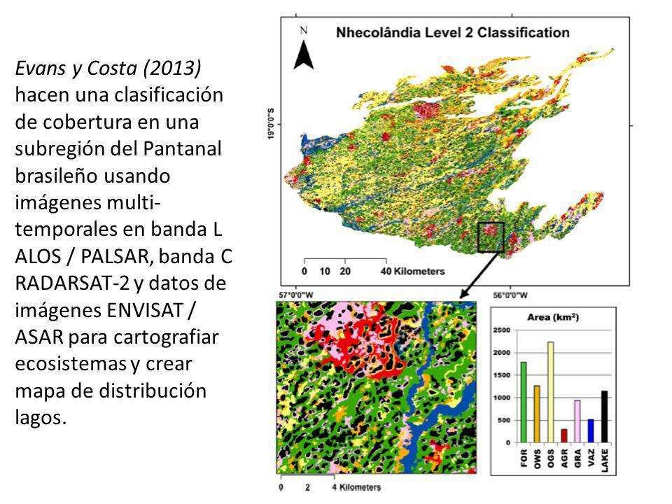 Evans y Costa (2013) hacen una clasificación de cobertura en una subregión del Pantanal brasileño usando imágenes multi- temporales en banda L ALOS /