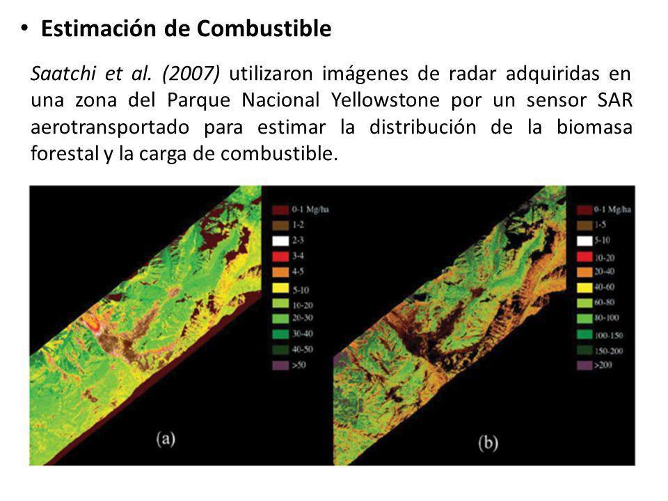 Estimación de Combustible Saatchi et al. (2007) utilizaron imágenes de radar adquiridas en una zona del Parque Nacional Yellowstone por un sensor SAR