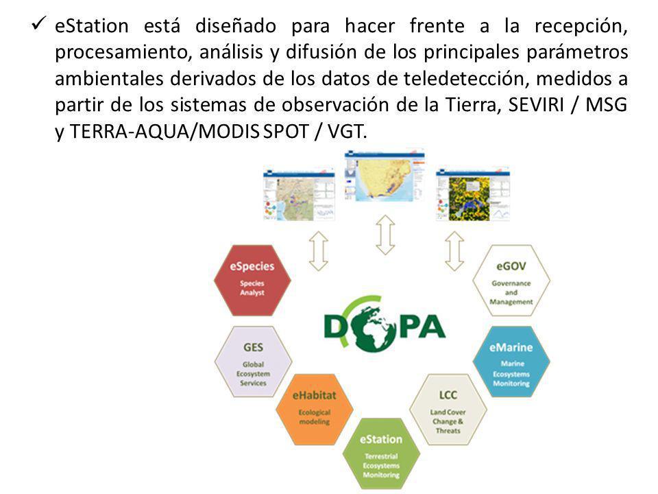eStation está diseñado para hacer frente a la recepción, procesamiento, análisis y difusión de los principales parámetros ambientales derivados de los