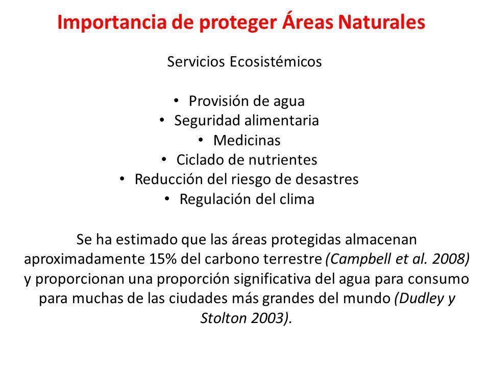 Importancia de proteger Áreas Naturales Servicios Ecosistémicos Provisión de agua Seguridad alimentaria Medicinas Ciclado de nutrientes Reducción del