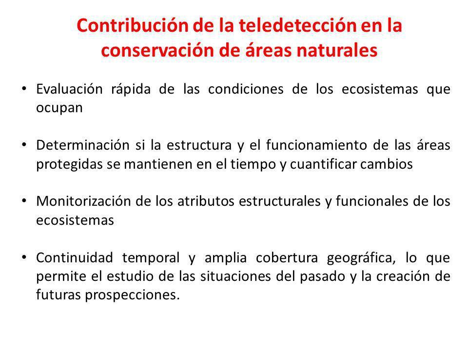 Contribución de la teledetección en la conservación de áreas naturales Evaluación rápida de las condiciones de los ecosistemas que ocupan Determinació