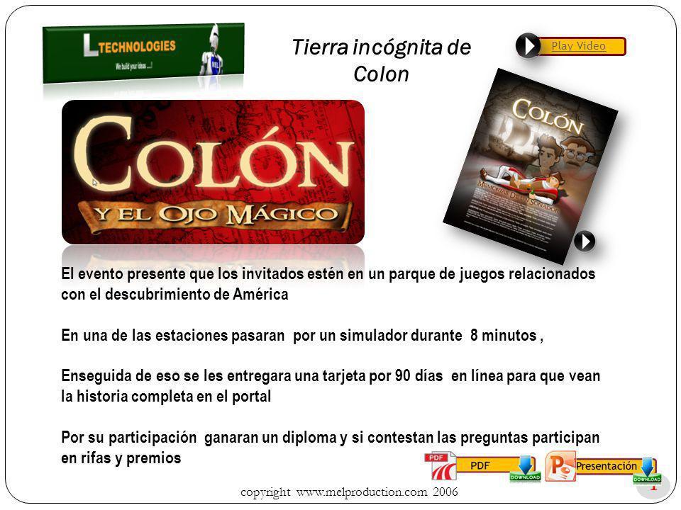 copyright www.melproduction.com 2006 1 Tierra incógnita de Colon El evento presente que los invitados estén en un parque de juegos relacionados con el