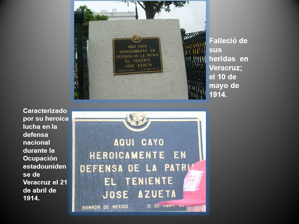 Falleció de sus heridas en Veracruz; el 10 de mayo de 1914. Caracterizado por su heroica lucha en la defensa nacional durante la Ocupación estadounide