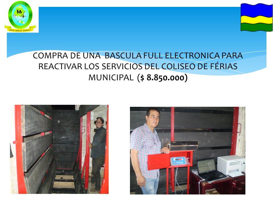 COMPRA DE UNA BASCULA FULL ELECTRONICA PARA REACTIVAR LOS SERVICIOS DEL COLISEO DE FÉRIAS MUNICIPAL ($ 8.850.000)