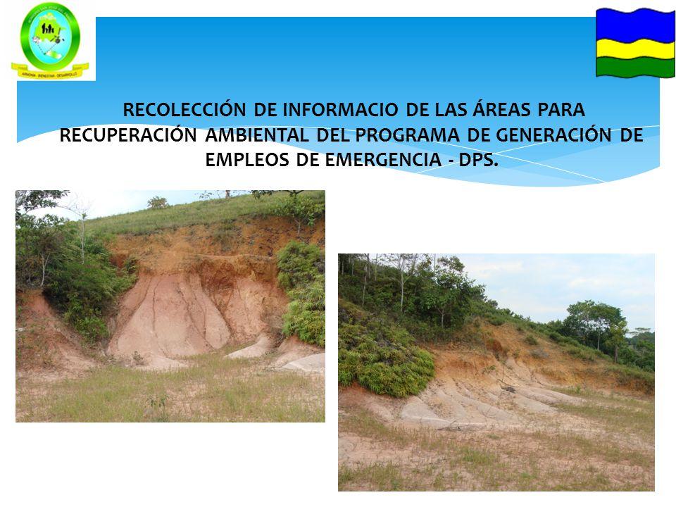 RECOLECCIÓN DE INFORMACIO DE LAS ÁREAS PARA RECUPERACIÓN AMBIENTAL DEL PROGRAMA DE GENERACIÓN DE EMPLEOS DE EMERGENCIA - DPS.