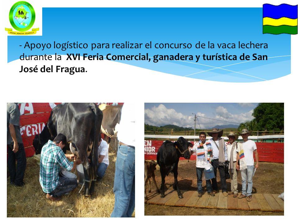 - Apoyo logístico para realizar el concurso de la vaca lechera durante la XVI Feria Comercial, ganadera y turística de San José del Fragua.