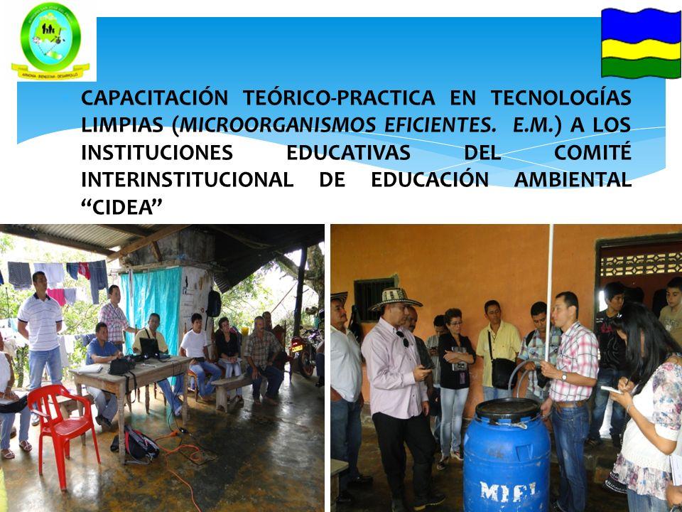 CAPACITACIÓN TEÓRICO-PRACTICA EN TECNOLOGÍAS LIMPIAS (MICROORGANISMOS EFICIENTES. E.M.) A LOS INSTITUCIONES EDUCATIVAS DEL COMITÉ INTERINSTITUCIONAL D