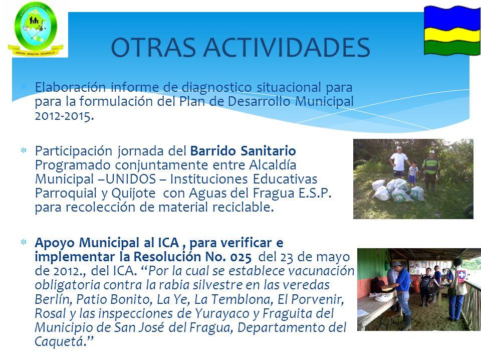Elaboración informe de diagnostico situacional para para la formulación del Plan de Desarrollo Municipal 2012-2015. Participación jornada del Barrido