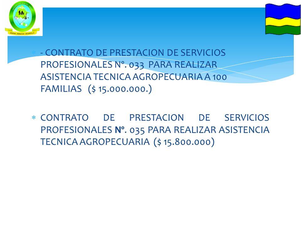 - CONTRATO DE PRESTACION DE SERVICIOS PROFESIONALES Nº. 033 PARA REALIZAR ASISTENCIA TECNICA AGROPECUARIA A 100 FAMILIAS ($ 15.000.000.) CONTRATO DE P