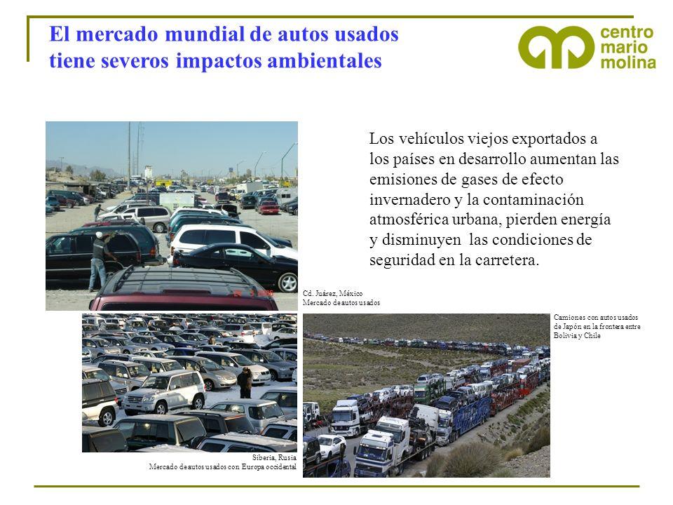 El mercado mundial de autos usados tiene severos impactos ambientales Siberia, Rusia Mercado de autos usados con Europa occidental Camiones con autos