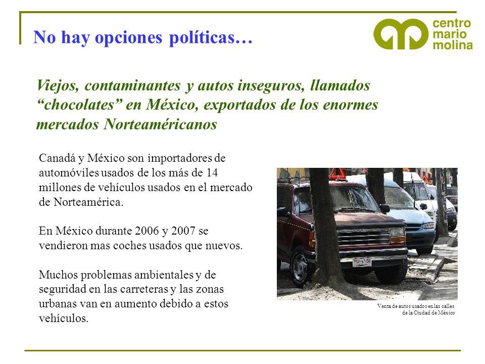 No hay opciones políticas… Viejos, contaminantes y autos inseguros, llamados chocolates en México, exportados de los enormes mercados Norteaméricanos