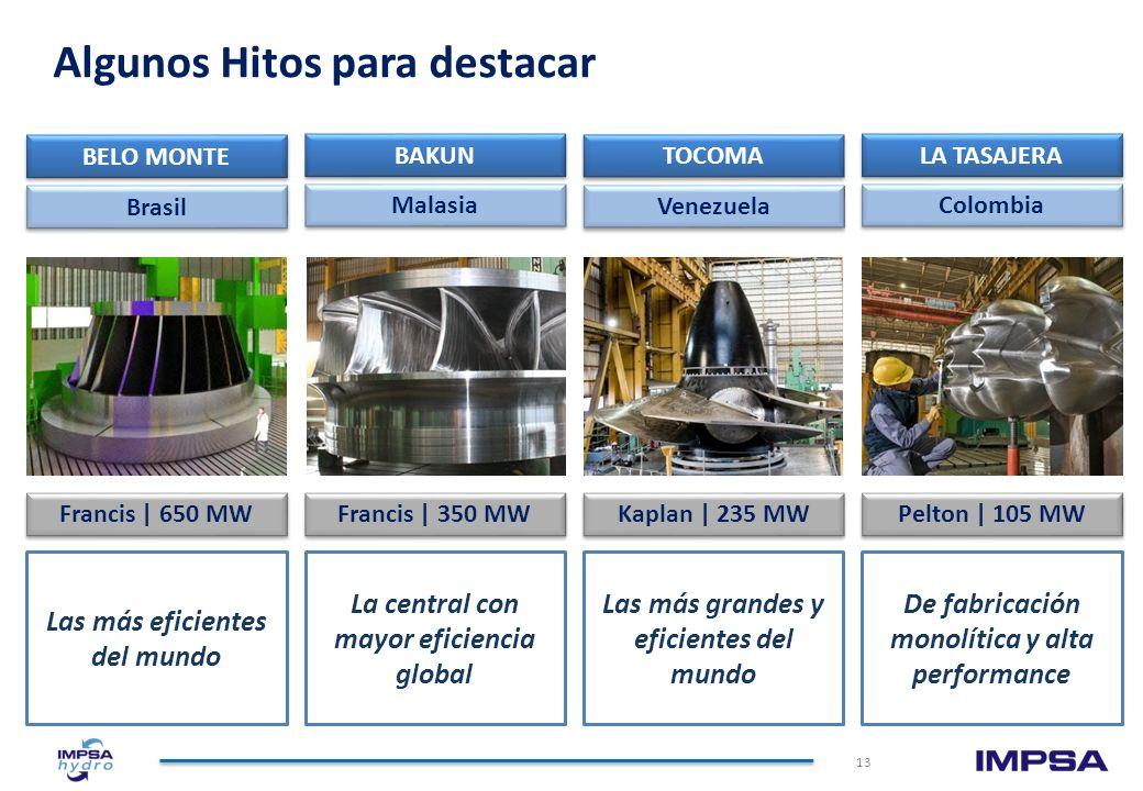 IMPSA Hydro: Track Record de 105 años 12 Fabricante líder en América del Sur de turbinas y generadores para grandes centrales hidroeléctricas Diseña,