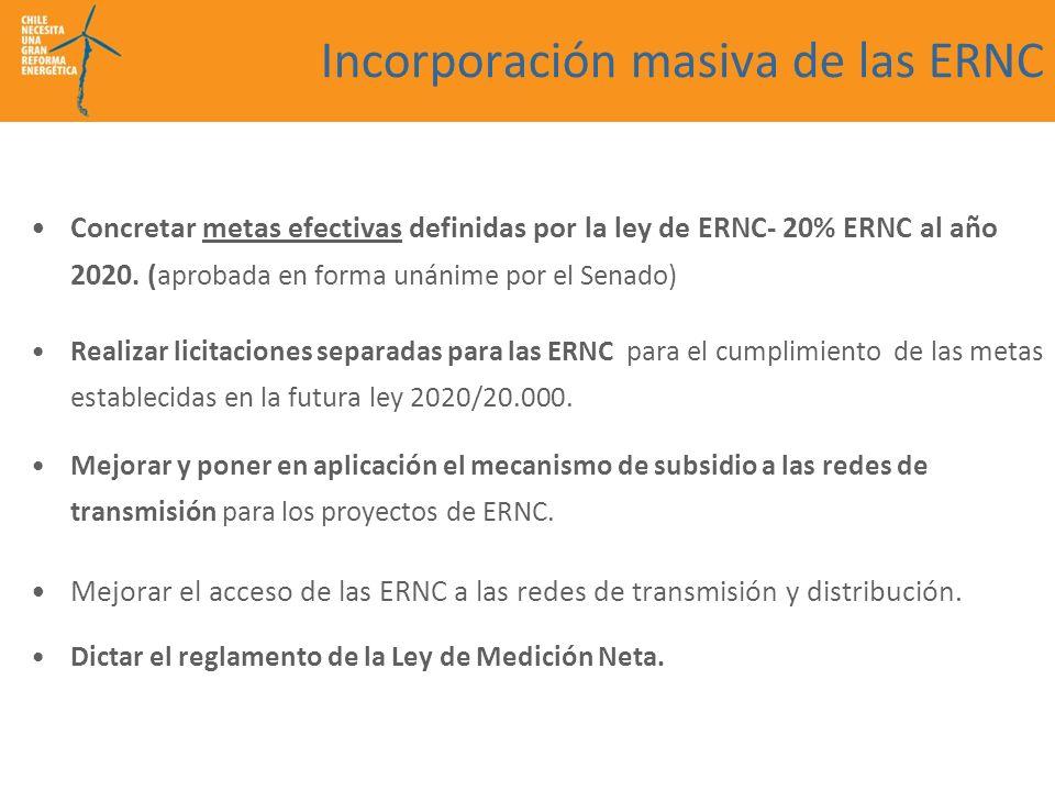 Incorporación masiva de las ERNC Concretar metas efectivas definidas por la ley de ERNC- 20% ERNC al año 2020. ( aprobada en forma unánime por el Sena