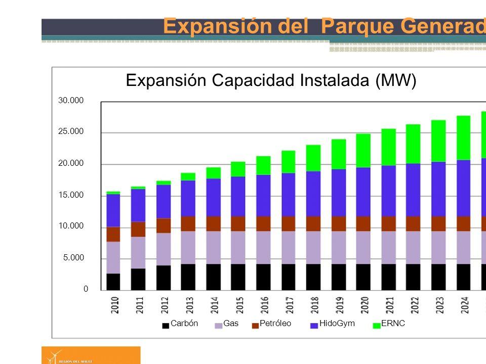 Expansión del Parque Generador Expansión Capacidad Instalada (MW) 30.000 25.000 20.000 15.000 10.000 5.000 0 CarbónGasPetróleoHidoGymERNC