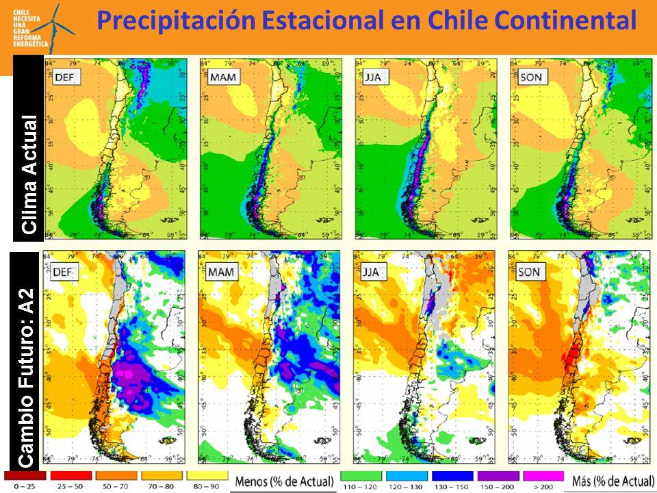 Precipitación Estacional en Chile Continental Cambio Futuro: A2 Clima Actual