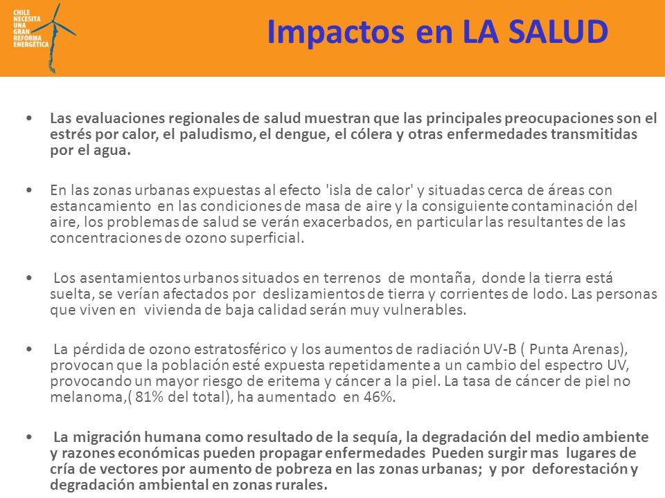 Impactos en LA SALUD Las evaluaciones regionales de salud muestran que las principales preocupaciones son el estrés por calor, el paludismo, el dengue, el cólera y otras enfermedades transmitidas por el agua.