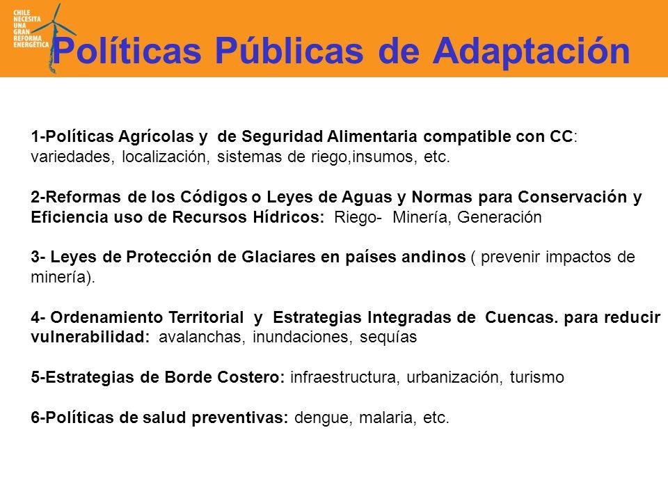 Políticas Públicas de Adaptación 1-Políticas Agrícolas y de Seguridad Alimentaria compatible con CC: variedades, localización, sistemas de riego,insumos, etc.