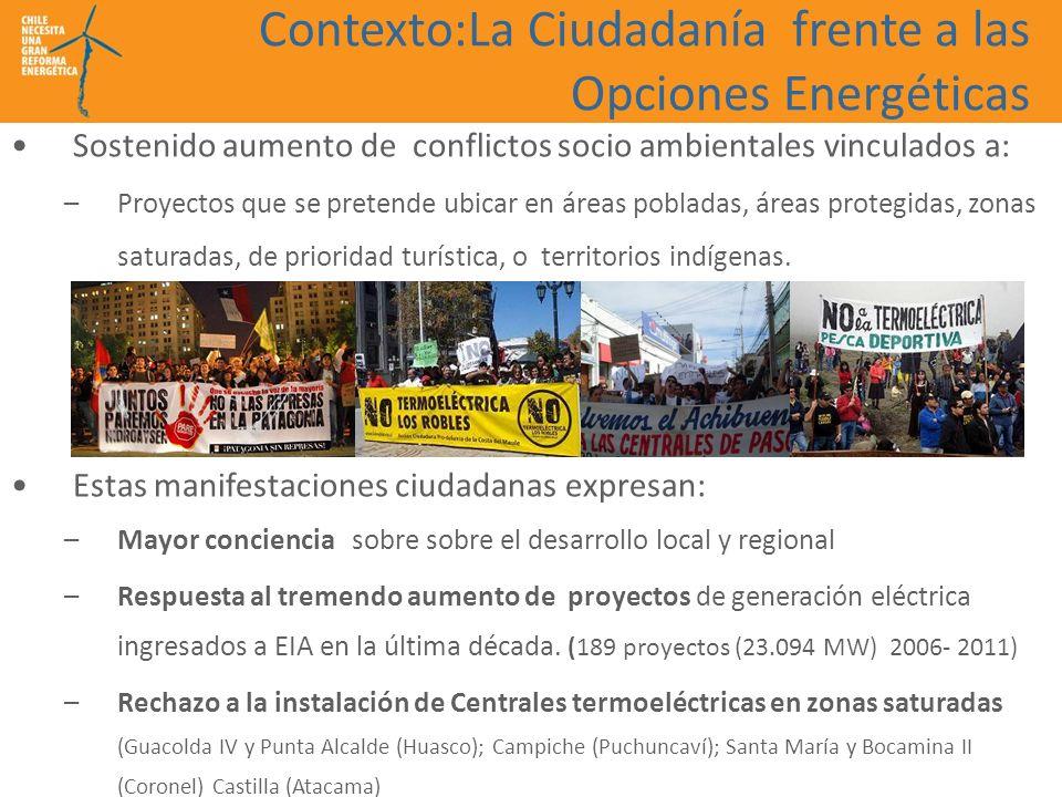 Contexto:La Ciudadanía frente a las Opciones Energéticas Sostenido aumento de conflictos socio ambientales vinculados a: –Proyectos que se pretende ub