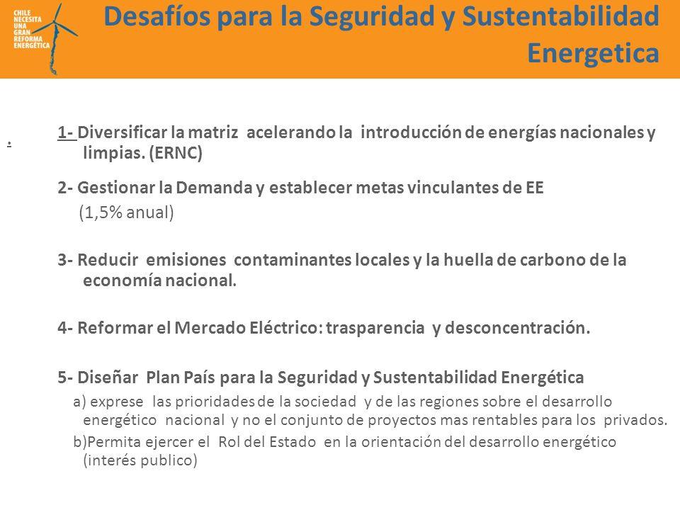 Desafíos para la Seguridad y Sustentabilidad Energetica 1- Diversificar la matriz acelerando la introducción de energías nacionales y limpias. (ERNC)