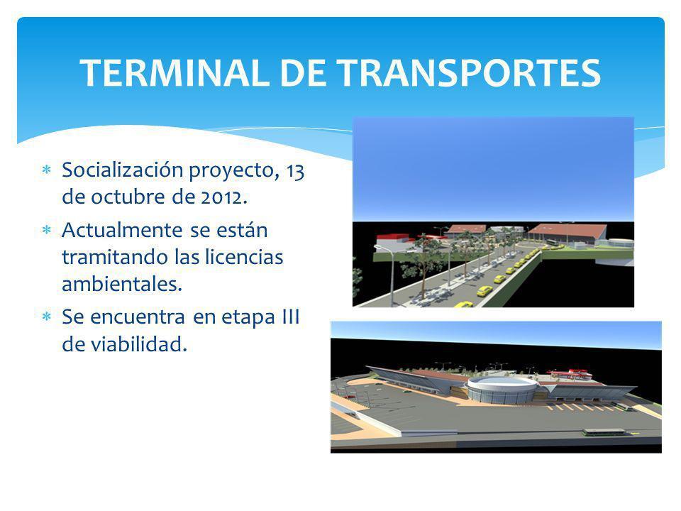 TERMINAL DE TRANSPORTES Socialización proyecto, 13 de octubre de 2012.