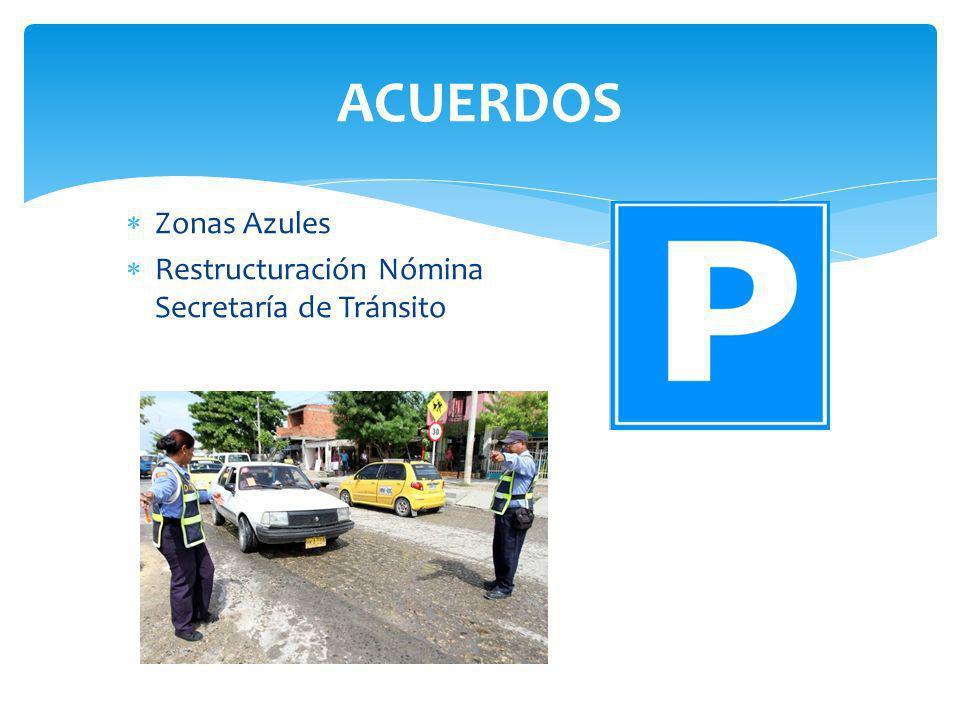 ACUERDOS Zonas Azules Restructuración Nómina Secretaría de Tránsito