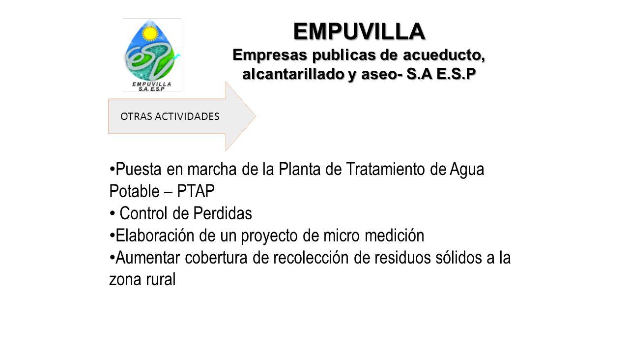 EMPUVILLA Empresas publicas de acueducto, alcantarillado y aseo- S.A E.S.P OTRAS ACTIVIDADES Puesta en marcha de la Planta de Tratamiento de Agua Pota