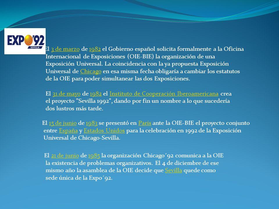 El 3 de marzo de 1982 el Gobierno español solicita formalmente a la Oficina3 de marzo1982 Internacional de Exposiciones (OIE-BIE) la organización de una Exposición Universal.