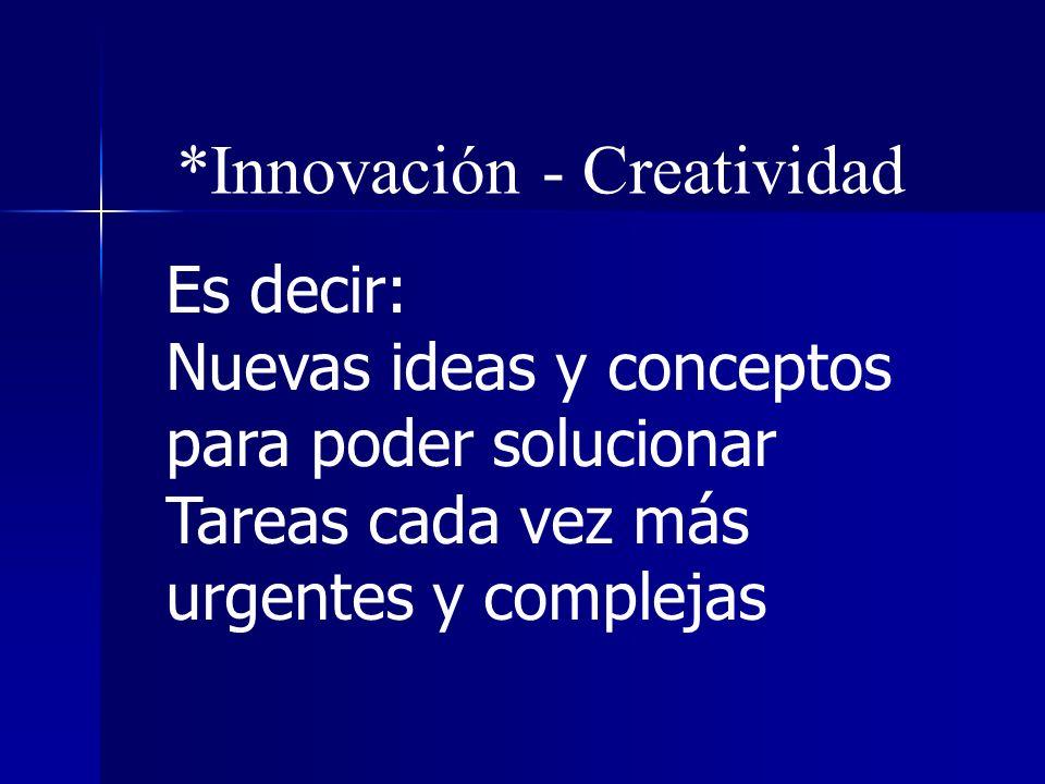 *Prospectiva – Signos de los tiempos *Innovación - Creatividad *Excelencia (no contra otros)
