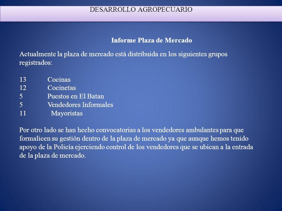 DESARROLLO AGROPECUARIO Informe Plaza de Mercado Actualmente la plaza de mercado está distribuida en los siguientes grupos registrados: 13 Cocinas 12