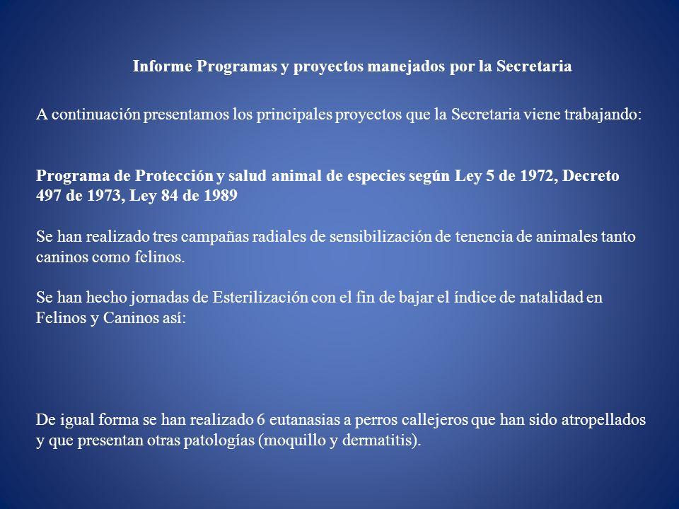 Informe Programas y proyectos manejados por la Secretaria A continuación presentamos los principales proyectos que la Secretaria viene trabajando: Pro