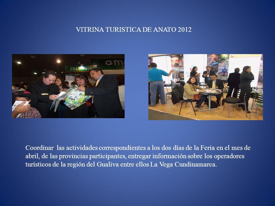 VITRINA TURISTICA DE ANATO 2012 Coordinar las actividades correspondientes a los dos días de la Feria en el mes de abril, de las provincias participan