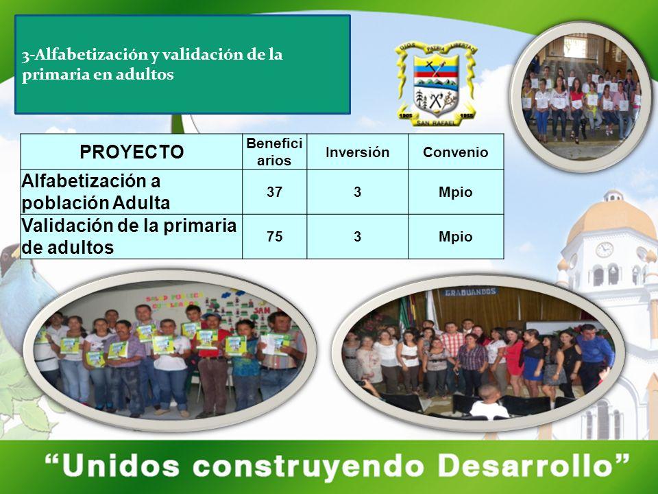 PROYECTO Benefici arios InversiónConvenio Alfabetización a población Adulta 373Mpio Validación de la primaria de adultos 753Mpio 3-Alfabetización y va