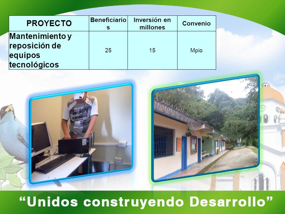 PROYECTO Beneficiario s Inversión en millones Convenio Mantenimiento y reposición de equipos tecnológicos 2515Mpio