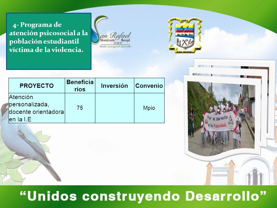 PROYECTO Beneficia rios InversiónConvenio Atención personalizada, docente orientadora en la I.E 75Mpio 4- Programa de atención psicosocial a la población estudiantil víctima de la violencia.