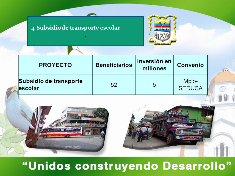 4-Subsidio de transporte escolar. PROYECTOBeneficiarios Inversión en millones Convenio Subsidio de transporte escolar 525 Mpio- SEDUCA