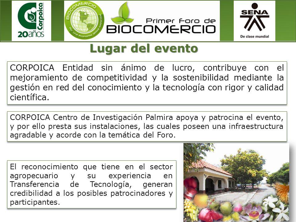 CORPOICA Centro de Investigación Palmira apoya y patrocina el evento, y por ello presta sus instalaciones, las cuales poseen una infraestructura agrad