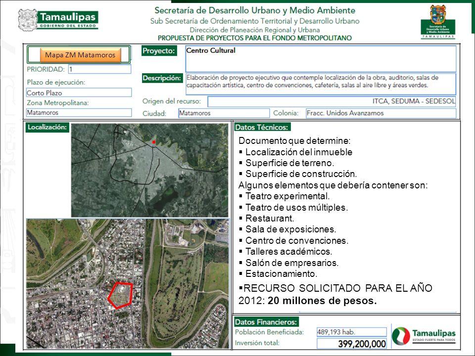 Documento que determine: Localización del inmueble Superficie de terreno. Superficie de construcción. Algunos elementos que debería contener son: Teat