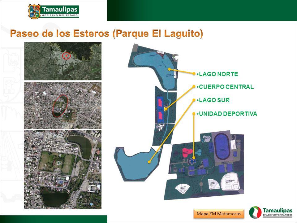 LAGO NORTE CUERPO CENTRAL LAGO SUR UNIDAD DEPORTIVA Mapa ZM Matamoros