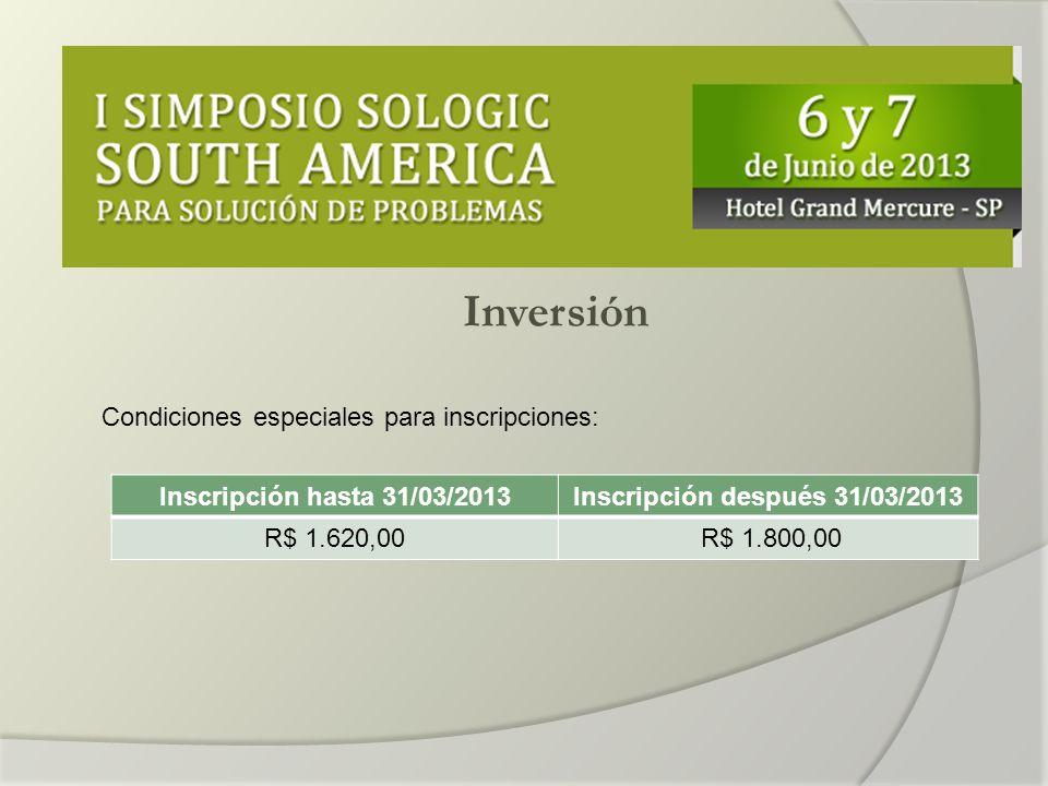 Inversión Condiciones especiales para inscripciones: Inscripción hasta 31/03/2013Inscripción después 31/03/2013 R$ 1.620,00 R$ 1.800,00