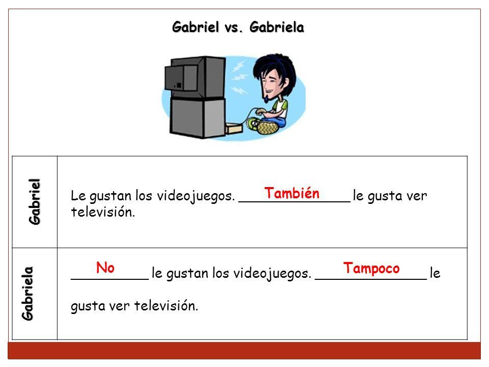 Gabriel Gabriela Le gustan los videojuegos. _____________ le gusta ver televisión. _________ le gustan los videojuegos. _____________ le gusta ver tel