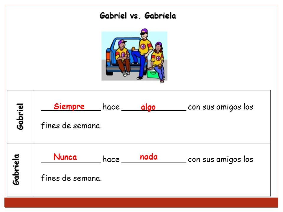 Gabriel Gabriela ____________ hace _____________ con sus amigos los fines de semana. ____________ hace _____________ con sus amigos los fines de seman