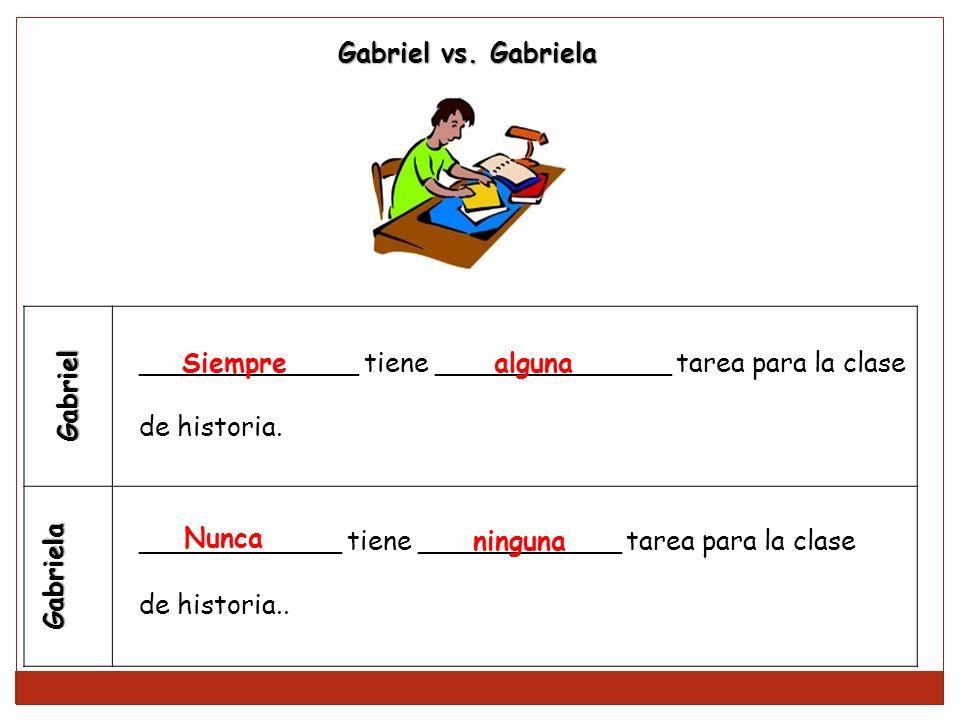 Gabriel Gabriela _____________ tiene ______________ tarea para la clase de historia. ____________ tiene ____________ tarea para la clase de historia..