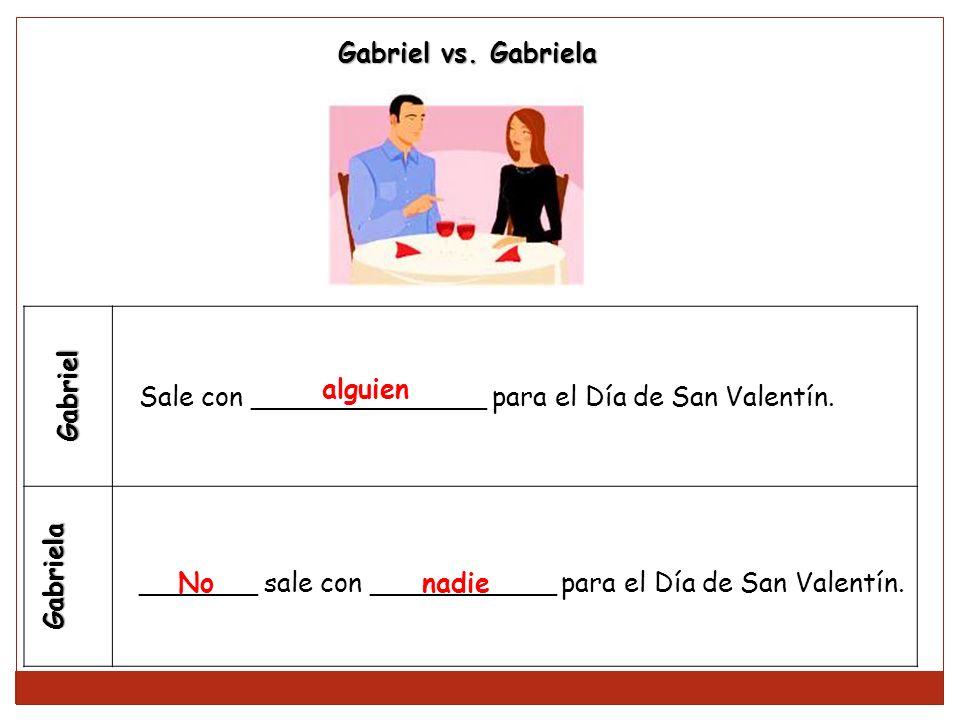 Gabriel Gabriela Sale con ______________ para el Día de San Valentín. _______ sale con ___________ para el Día de San Valentín. Gabriel vs. Gabriela a