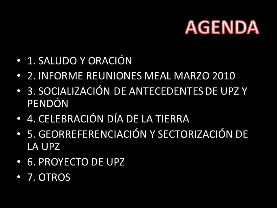 1. SALUDO Y ORACIÓN 2. INFORME REUNIONES MEAL MARZO 2010 3.
