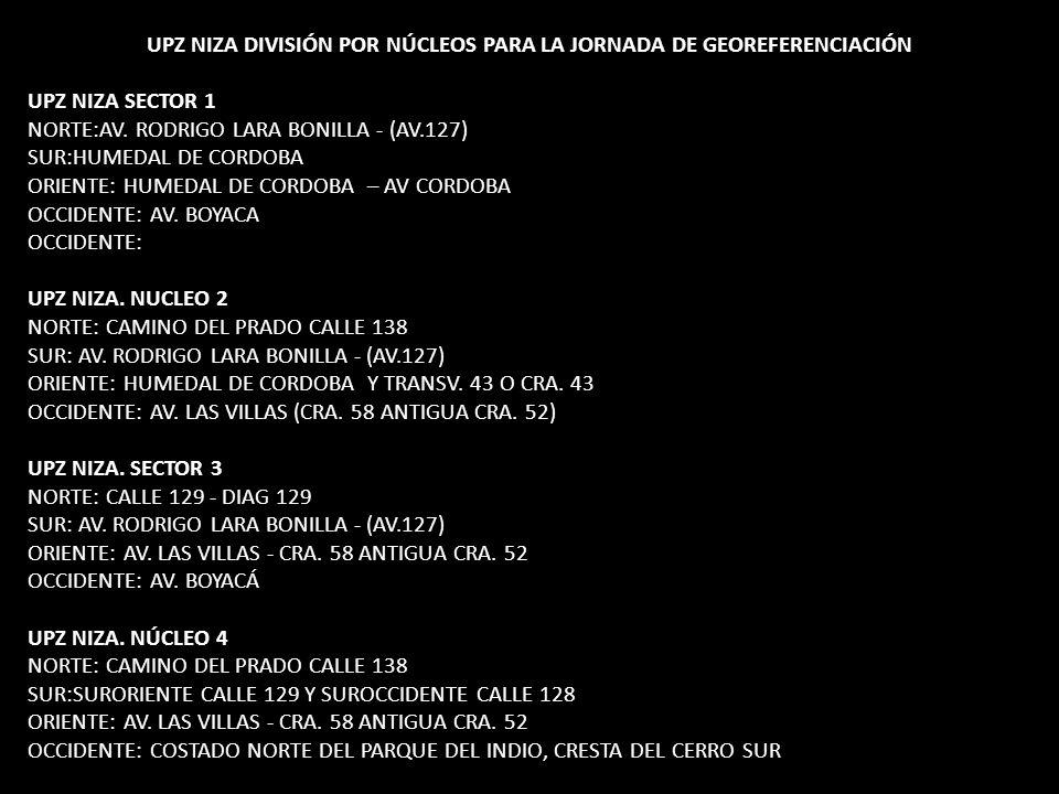 UPZ NIZA DIVISIÓN POR NÚCLEOS PARA LA JORNADA DE GEOREFERENCIACIÓN UPZ NIZA SECTOR 1 NORTE:AV.