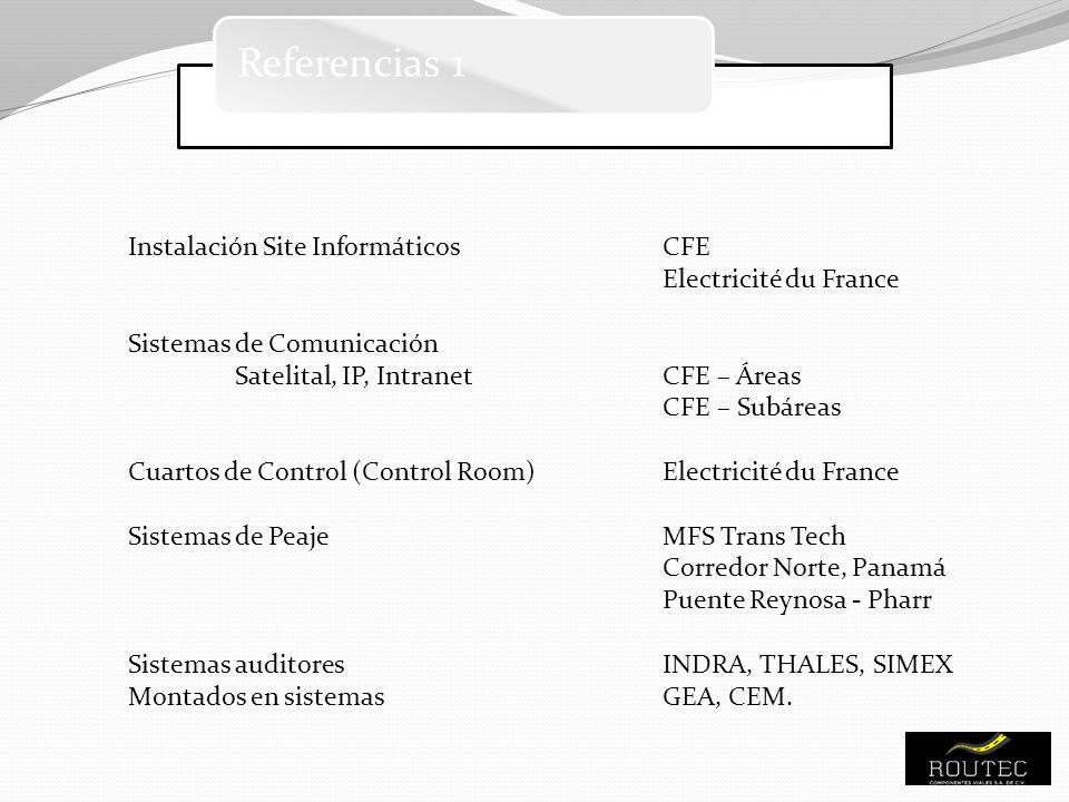 Referencias 1 Instalación Site InformáticosCFE Electricité du France Sistemas de Comunicación Satelital, IP, IntranetCFE – Áreas CFE – Subáreas Cuarto