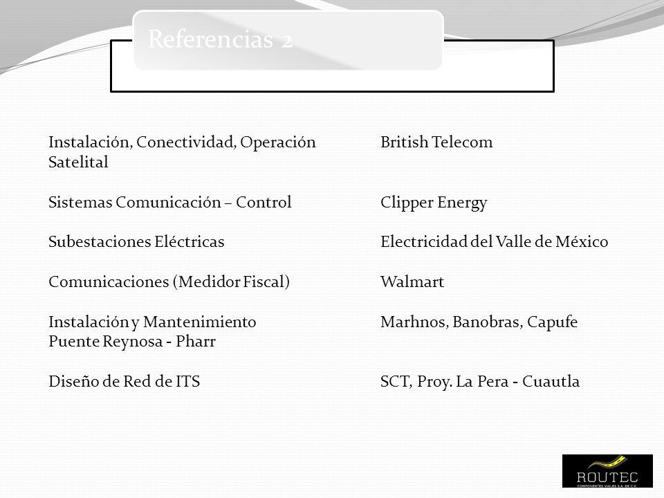 Referencias 2 Instalación, Conectividad, OperaciónBritish Telecom Satelital Sistemas Comunicación – ControlClipper Energy Subestaciones EléctricasElec