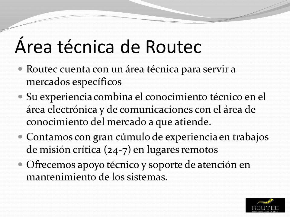 Área técnica de Routec Routec cuenta con un área técnica para servir a mercados específicos Su experiencia combina el conocimiento técnico en el área